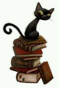Bookstack cat