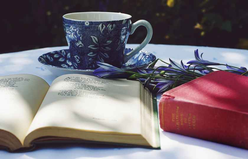 book opened on top of white table beside closed red book and round blue foliage ceramic cup on top of saucer